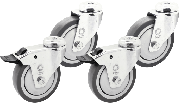 4 x Apparaterolle Rückenloch Lenkrolle Transport Möbelrolle Ø 75 mm Lenk-Brems