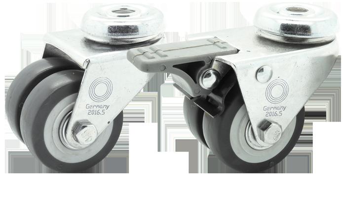 1 x en caoutchouc rückenloch 100 mm transport lenkrolle ISO 9001 GERMANY roulement à billes